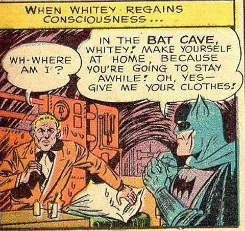 Batman and Whitey share a tender moment...